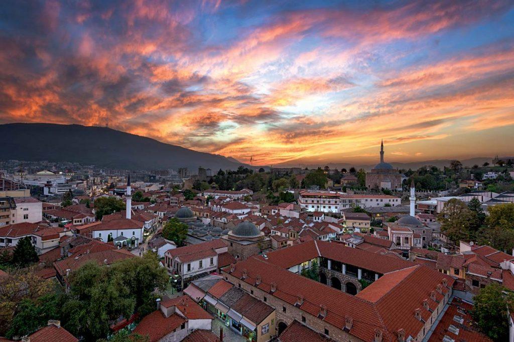 Вид на Скопье с высоты
